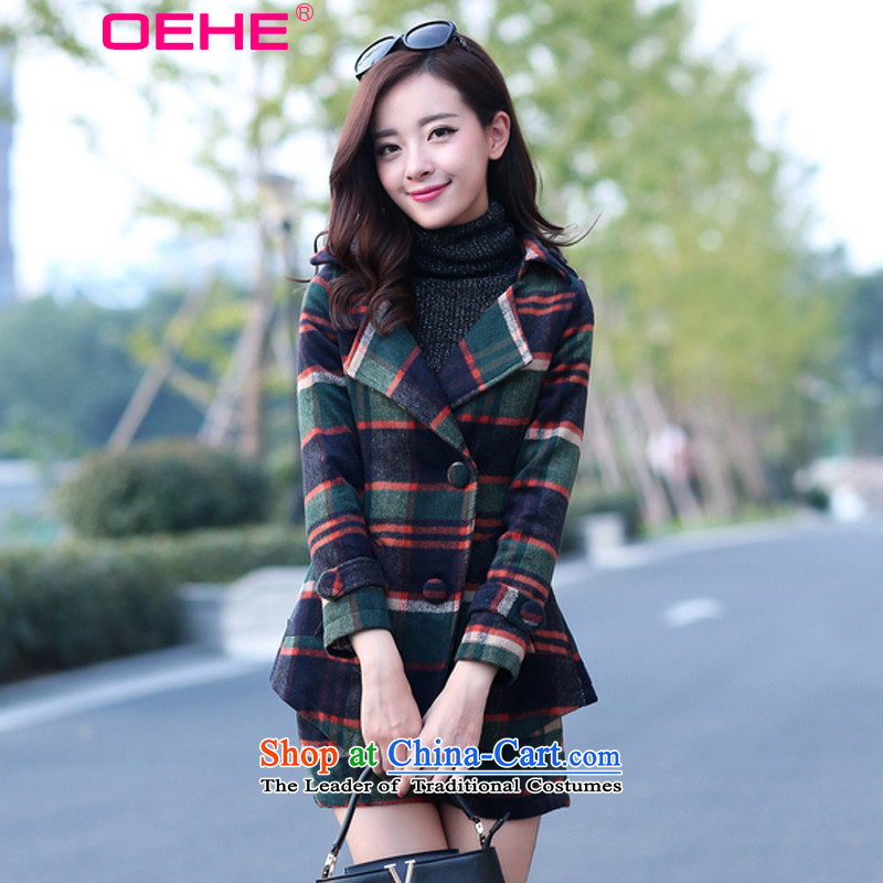 Install the latest Autumn 2015 OEHE, Korean Sau San latticed two kits stylish girl graphics lapel thin blue long-sleeved Pullover燤