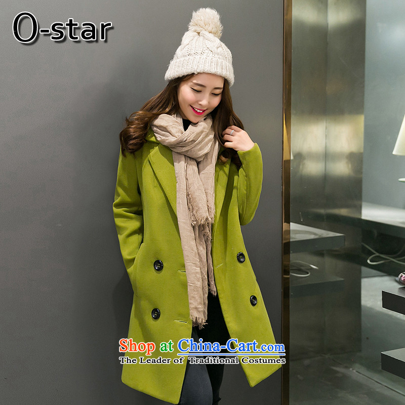2015 Autumn and winter o-star new Korean version of the long hair? large coats women a wool coat jacket female燨836燪iu Xiang green燲L