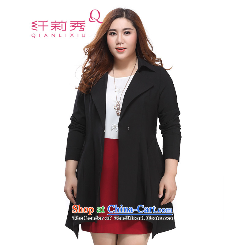 The former Yugoslavia Li Sau 2015 autumn large new mount female Korean rate lapel pure colors of stylish and simple long-sleeved jacket in MM thick black�L 0980