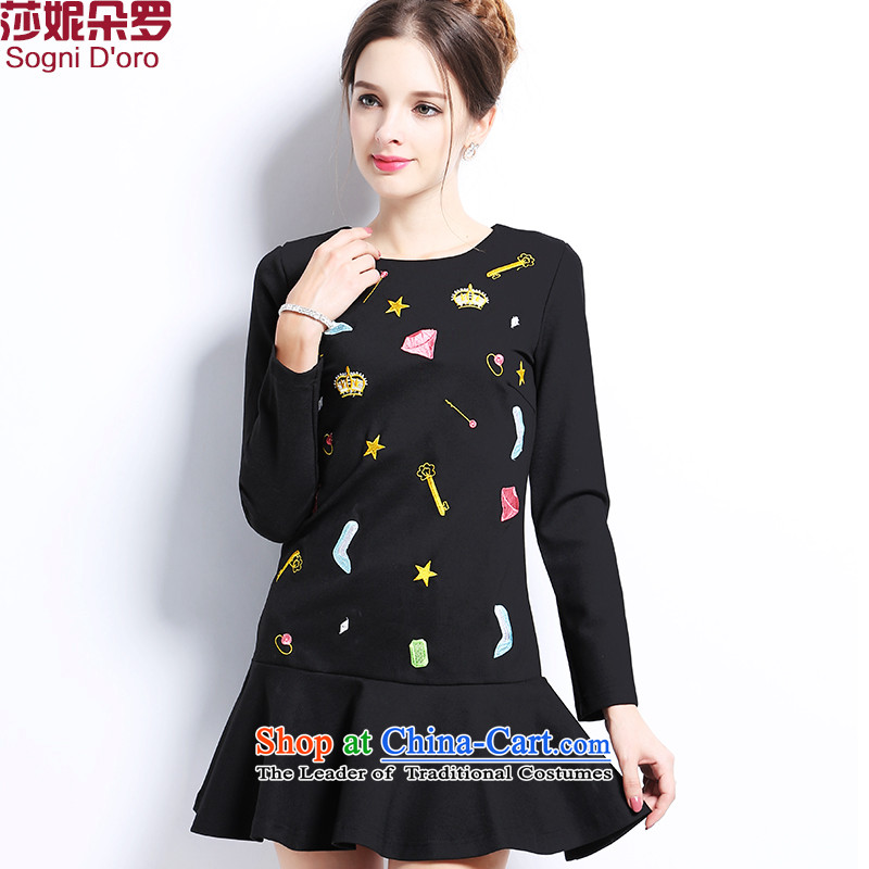 Luo Shani flower code women winter clothing to increase the burden of code 200 thick sister thick girls' Graphics thin, thick mm dresses 2704 Black聽5XL autumn and winter thin, Video