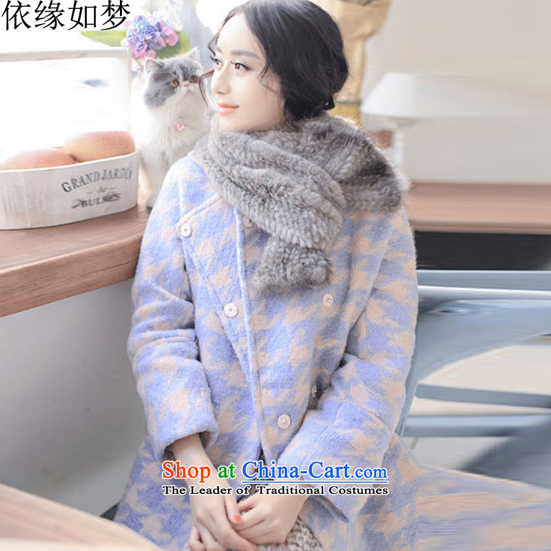 In accordance with the trailing edge is like a dream for燼utumn and winter 2015 new thick a jacket female Korean fashion, long relaxd casual Chidori-coats of color picture燤