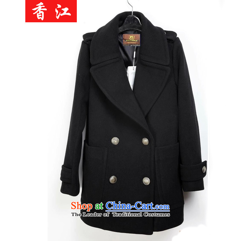Xiang Jiang�15 Fall_Winter Collections new Korean version of large numbers of ladies in long hair? windbreaker to increase expertise sister 200 catties jacket a wool coat 825 Black�L