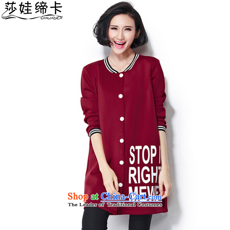 Elisabeth wa concluded card stylish Korean ladies casual wear on large 2015 thick woman sweater thick_ Air layer stamp thick sister autumn replacing thick large Tien large red are suitable for 95 to 160 yards catty fertilizer Fertilizer