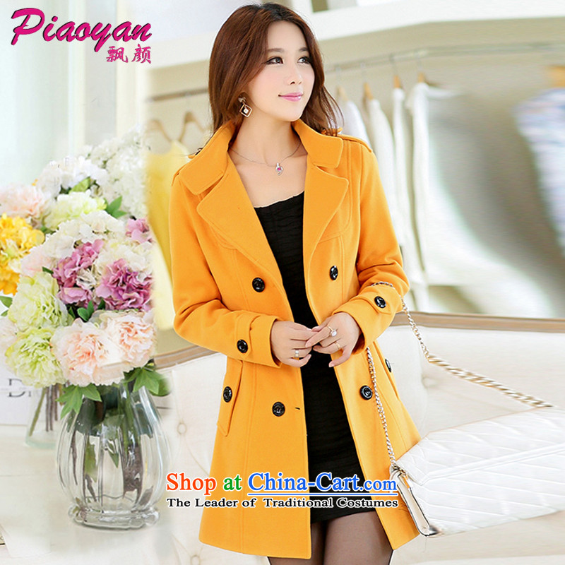 Piao Mr NGAN 2015 gross? In coats long nagymaros collar Korean windbreaker winter coats a cashmere ROOM D308 Yellow� L