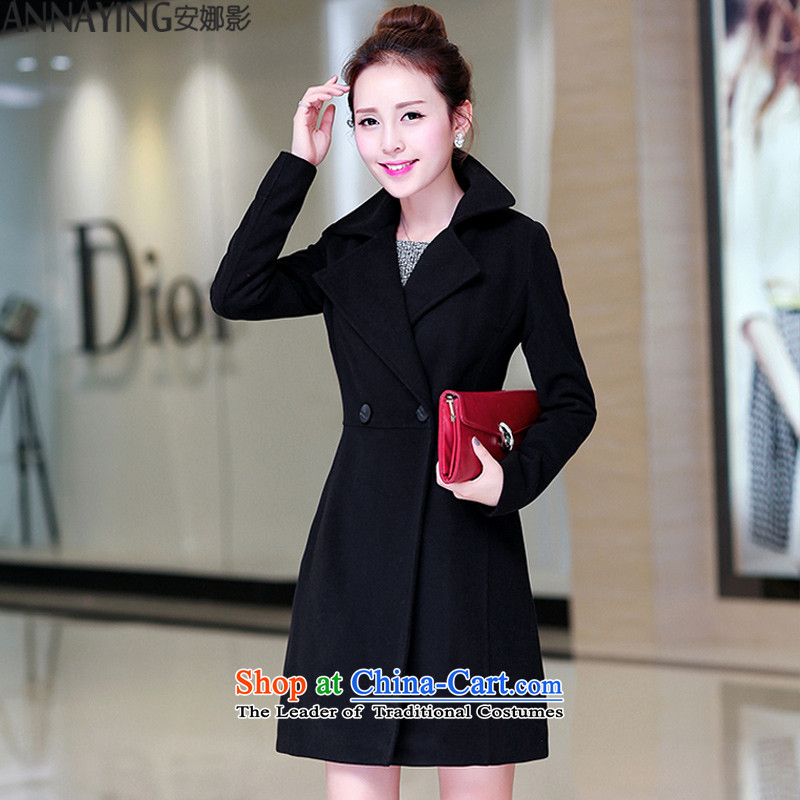 Anna shadow聽autumn and winter 2015 New Women Korean citizenry gross wind jacket in this long lapel of Sau San cashmere a wool coat female large black聽M