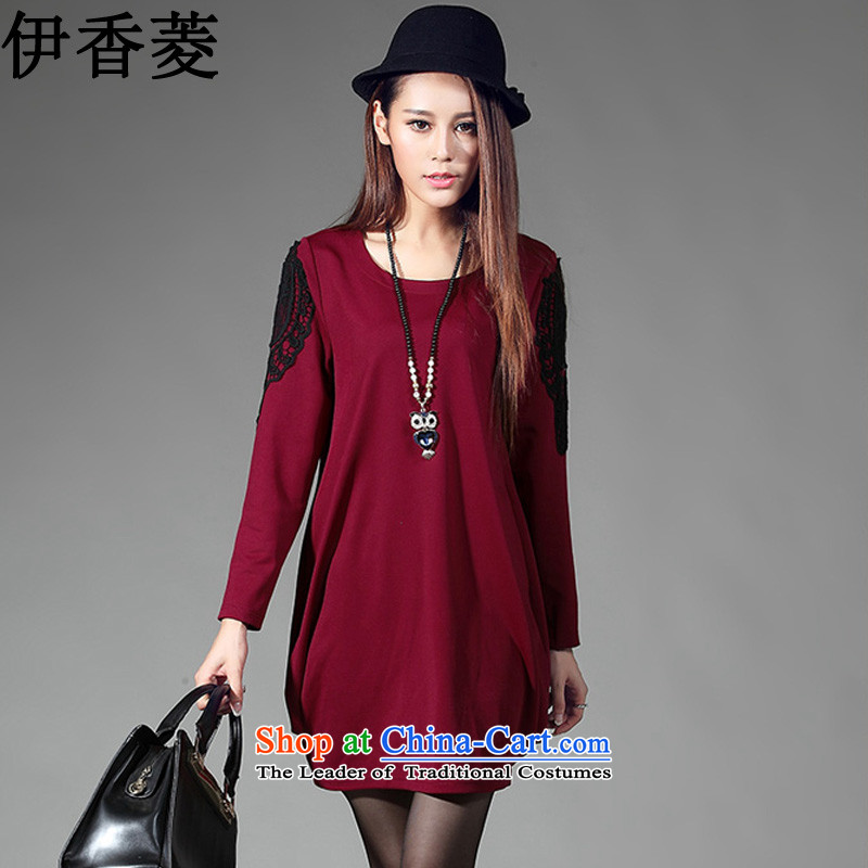 Ikago Ling autumn 2015 the new Korean version of large numbers of ladies fashion video thin lanterns skirt threw a long-sleeved dresses Y8245  XXXL wine red