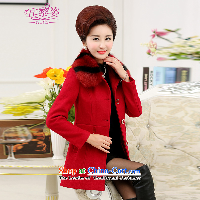 To the elderly in the Gigi Lai Women's mother replacing gross overcoats thick women? Korean version for removable in gross long coats red jacket cashmereXXXL?