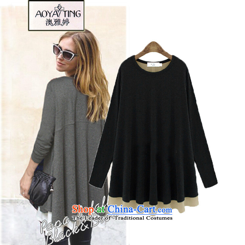 O Ya-ting to increase women's code 2015 autumn and winter thick mm new graphics thin chiffon stitching in long-sleeved long T-shirts, forming the Netherlands 988 Black4XL165-200 recommends that you Jin