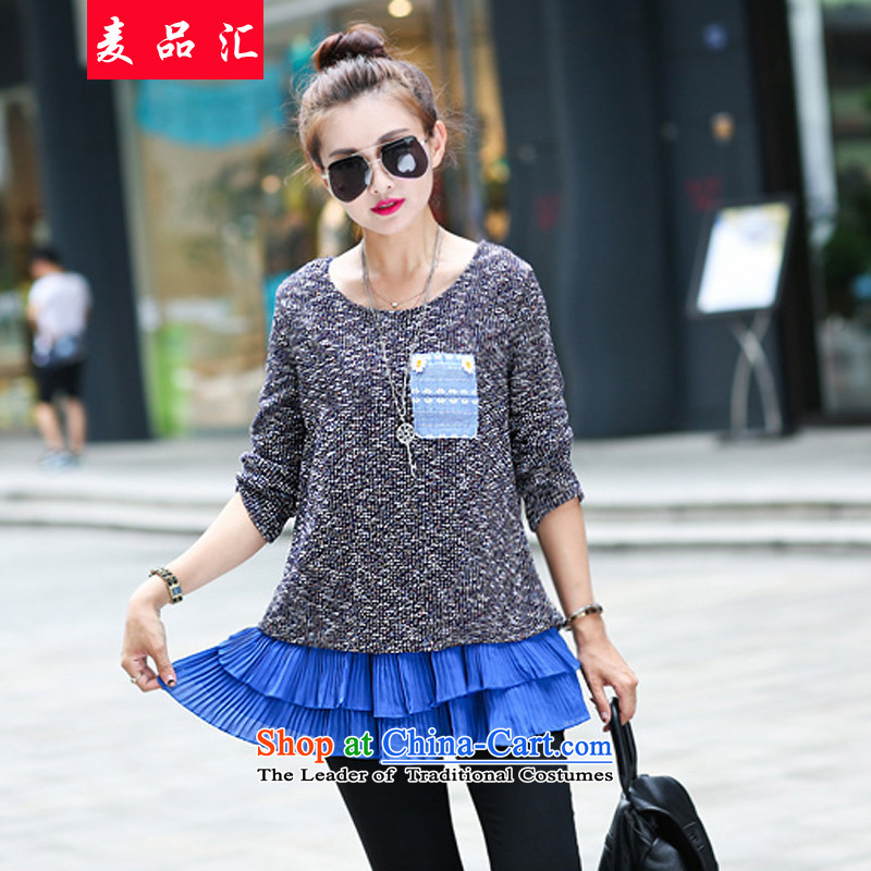 Mak, removals by sinks聽to 2015 mm thick xl women in autumn and winter long thin forming the graphics knitwear 200 catties thick sister Sun-Dok 607 Blue聽4XL