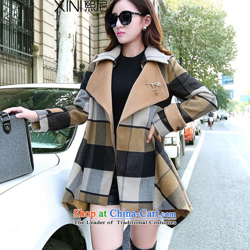 The2015 autumn and winter-hee load new Korean Fashion Cap latticed Sau San cloak large lapel irregular leisure jacket coat? female gross latticesL