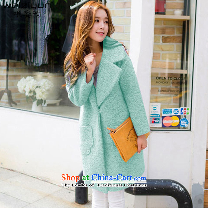 Gigi Lai following 2015 CD for autumn and winter by new Korean circle of coarse wool tweed sub-coats large cocoon girl in long hair? jacket green  S