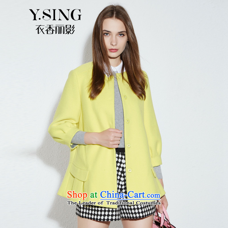 -i- to buy three from Hong Lai Ying 2015 Fall_Winter Collections new Korean temperament sweet Long Neck Jacket gross? female _61_ Long-sleeved yellow XL