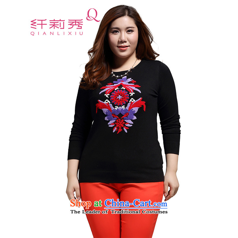The former Yugoslavia Li Sau 2015 autumn large new mount female exquisite round-neck collar elastic characteristics taping kit and a long-sleeved sweater 0576 Black�L