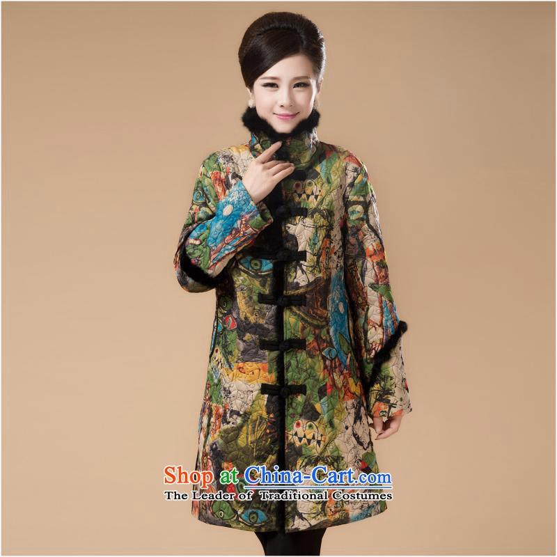 The new Iraqi gauneau) women's older thick winter clothing in load mother long ethnic cotton coat ãþòâ rabbit hair Tang jackets grass green 4XL..