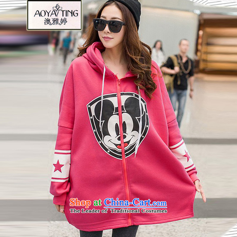O Ya-ting to increase women's code 2015 autumn and winter Korean New fat mm very casual and lint-free with cap cardigan sweater jacket 200 catties of big red version will recommend that you 100-220 catty
