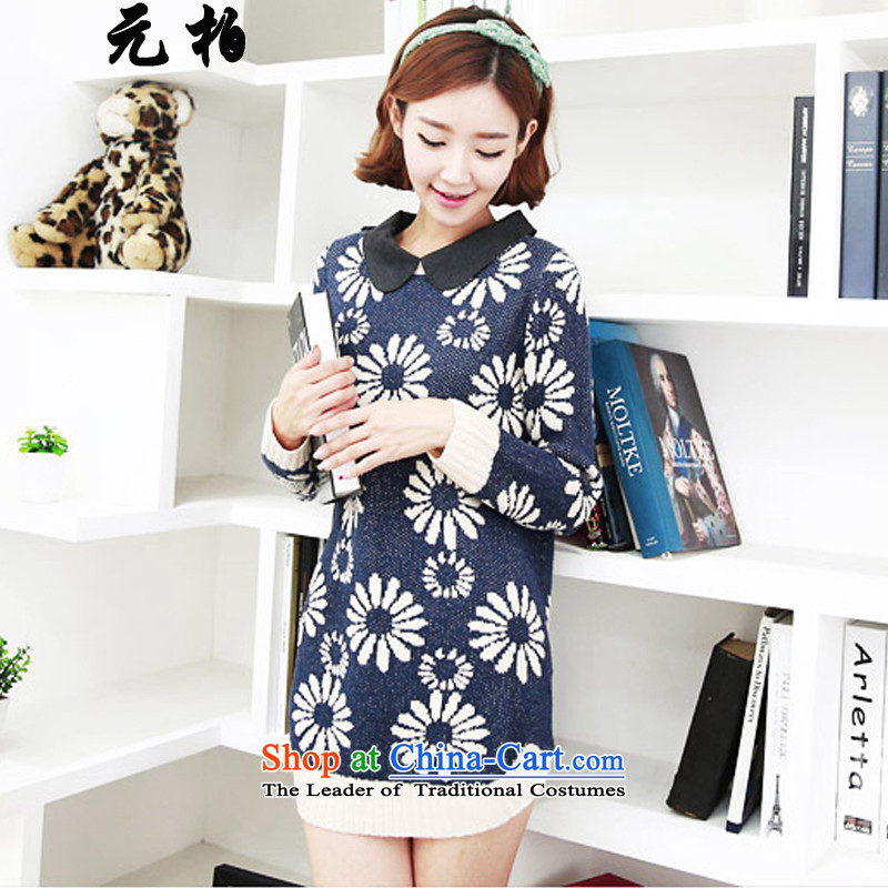 Pak won the spring and fall of the new Korean version of large numbers of ladies sweater stamp for long-sleeved loose focus dolls, forming the blue shirt _5024 MM 4XL around 922.747 paragraphs 165-175 under
