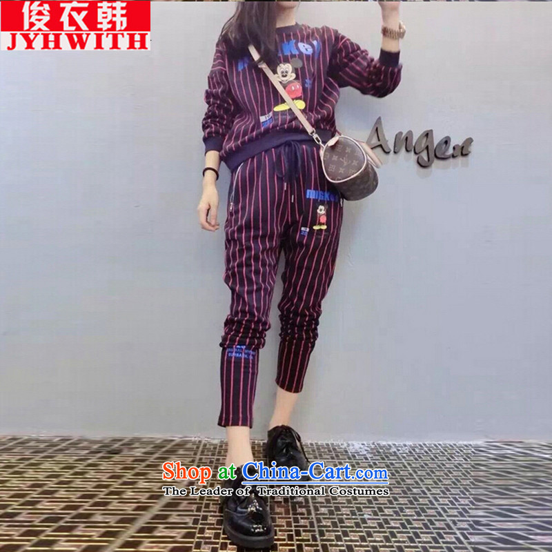 Mr James TIEN yi won increase women's Borneo is indeed to women's sports kit trousers female thick sister larger female 200 catties autumn replacing thick MM thick) two sweater kit for 180 grape 5XL purple to 200 catties of Fat Fat