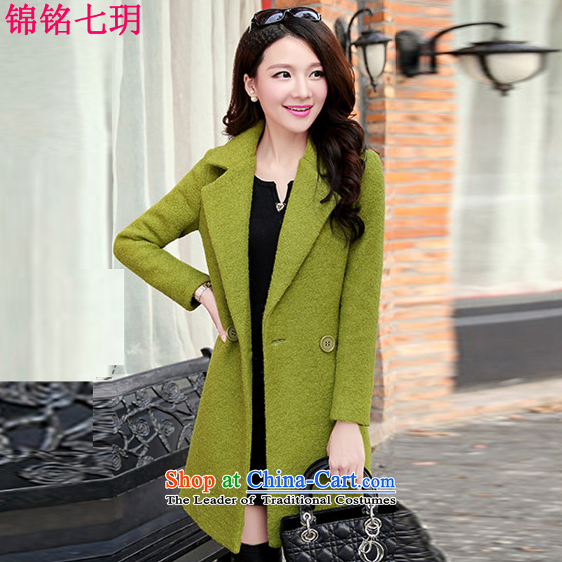 Kam Ming Yue gross? coats of seven female 2015 winter on new Korean citizenry elegant in Sau San long coats gross? women video thin coat wool coat green L?