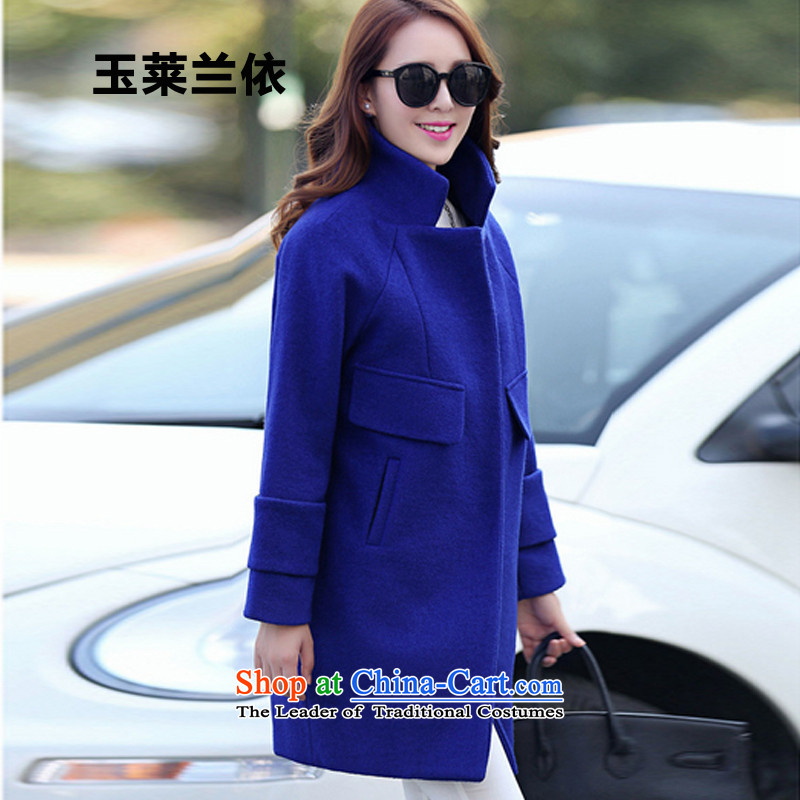 In accordance with the 2015-yuk leyland autumn and winter new gross Women's jacket?   in the Korean female YL1567 long jacket, blue S