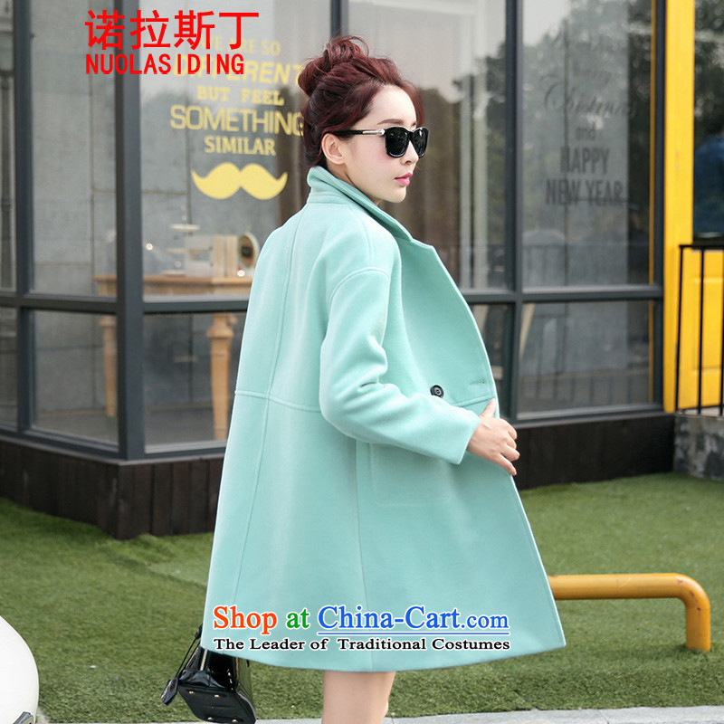 Noras Ding Fall 2015 gross girls jacket? Long Korean Sau San suits cashmere a wool coat female light green M