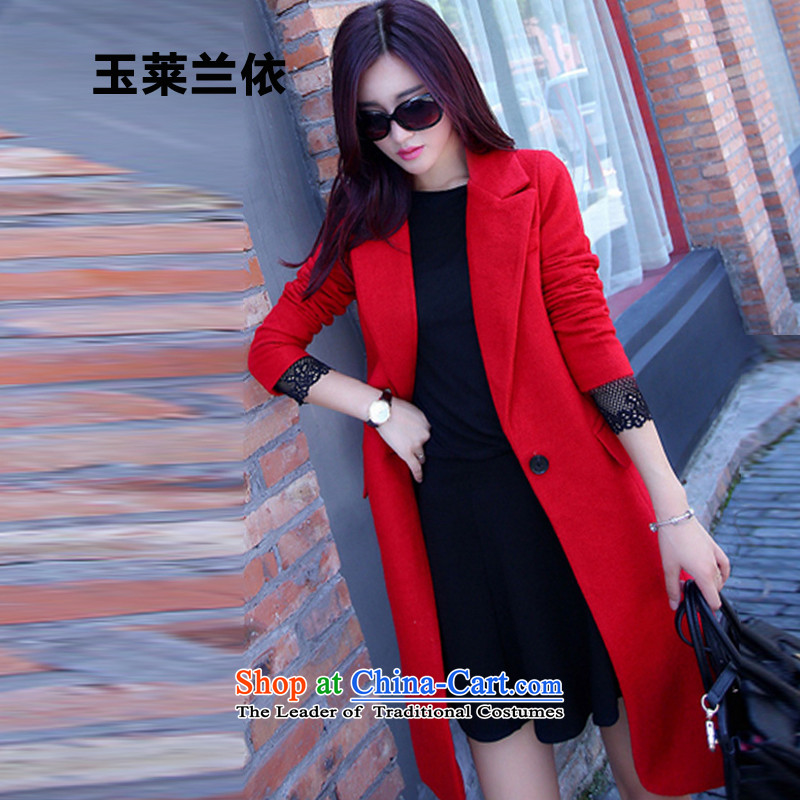 In accordance with the 2015-yuk leyland autumn and winter coats gross new female Korean?   in the thin long graphics_? sub female YL1580 jacket red S