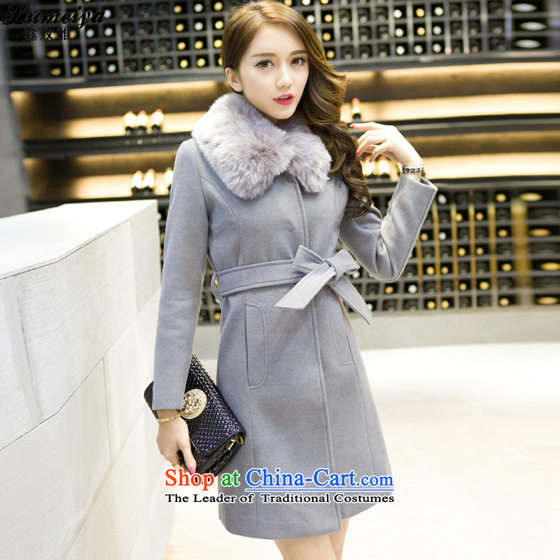 Receive new winter 2015 Ya Long gross jacket for the works on the Nagymaros?   the tether strap gross coats female 9136 gray?燣