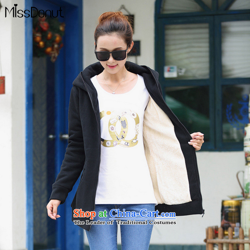 To increase the number missdonut female autumn and winter coats won the lint-free thick edition long with Cap 200 catties thick sister mm zipper cardigan black燲XL recommended cost between HKD150-170 catty
