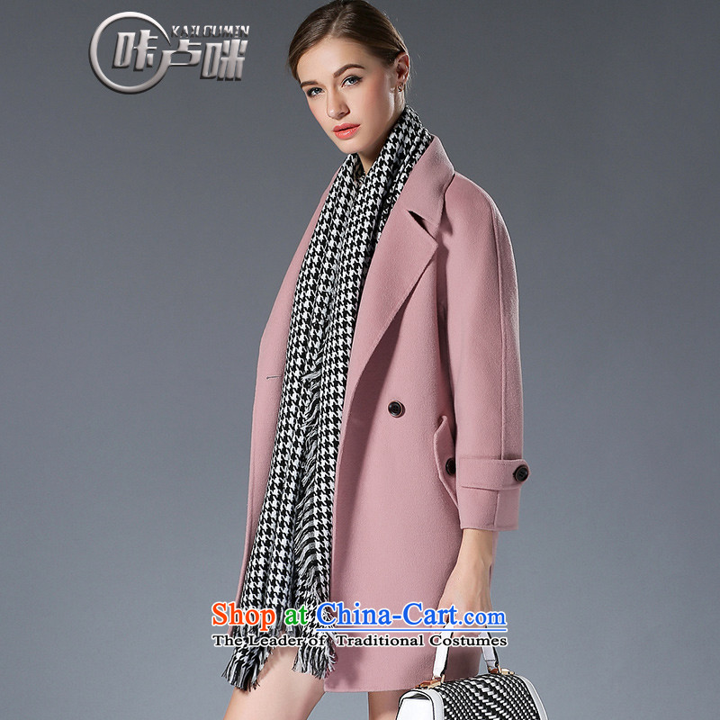 President metered parking spaces _'�15 autumn and winter New hand-sided flannel wool cashmere overcoat girl in long ago coats of long-sleeved jacket and pink-Sau San燤