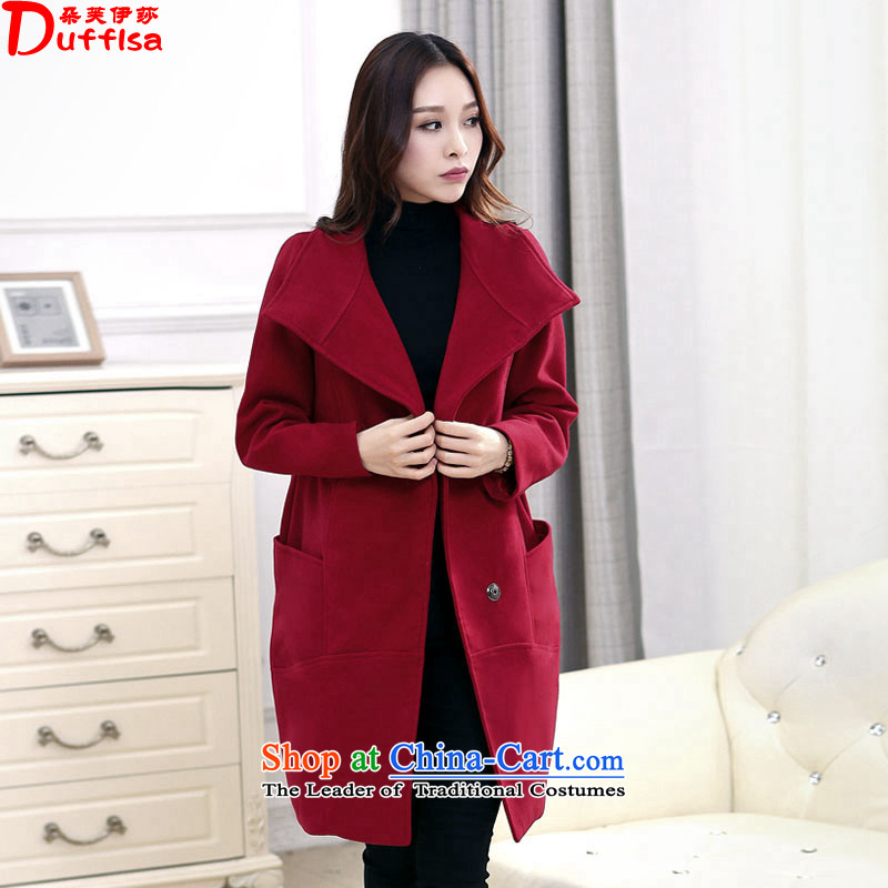 Flower to Isabelle winter larger female thick mm gross? Lapel Stylish coat in long loose a wool coat D1970 wine red?4XL_175-200 catties_