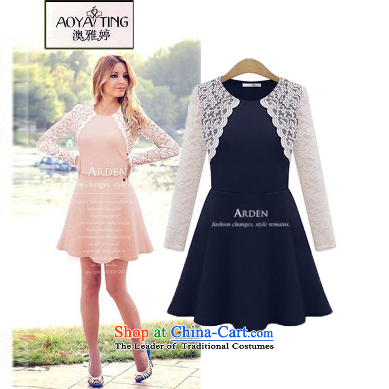 O Ya-ting to increase women's code 2015 autumn and winter lace dresses thick mm new graphics thin long-sleeved shirt female skirts, forming the temperament 323 Navy4XLrecommends that you 160-180 catty