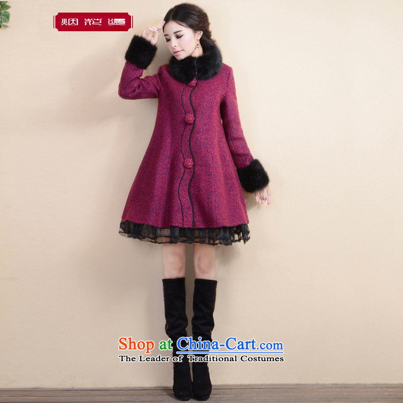 Fireworks ironing fall 2015, OSCE root yarn spell a color jacket petticoats coats, wool? Long thickness from the Red Grainy HuiM pre-sale 25 Days