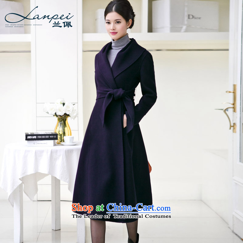 Ho Pui 2015 New Sau San-sided flannel woolen coat female hand-made woolen coats that long navy pre-sale 7 days燤