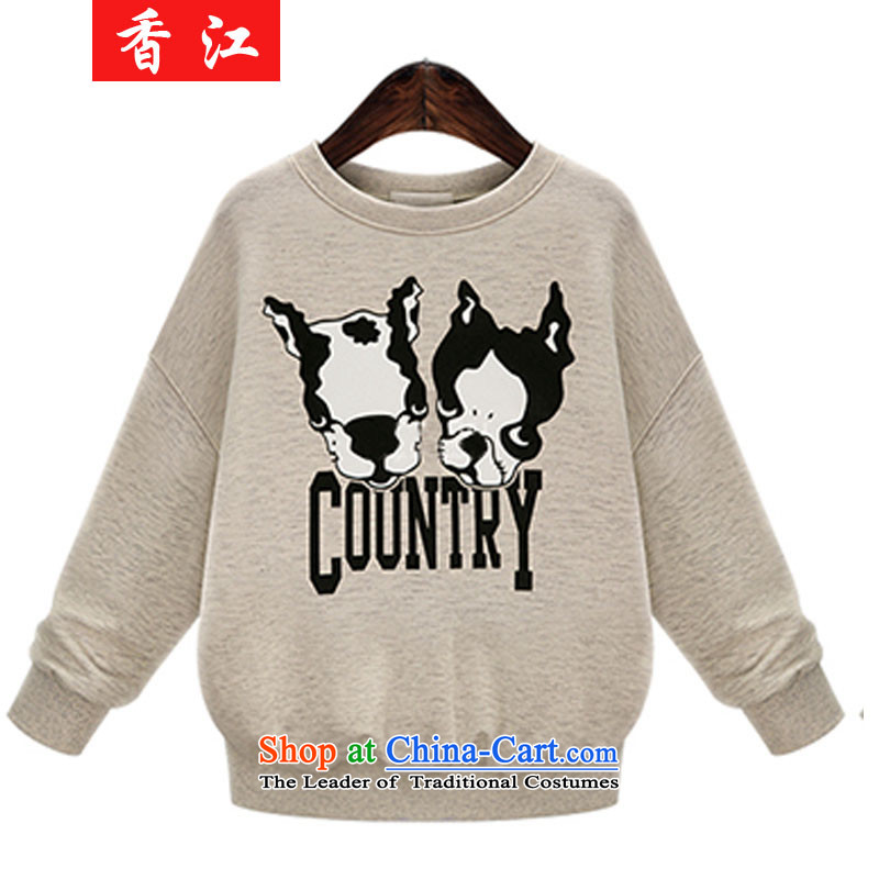 Xiang Jiang to increase women's code 200 catties thick sister autumn and winter new very casual clothes dog stamp long-sleeved Pullover sweater T-shirt female 337 light beige larger 5XL
