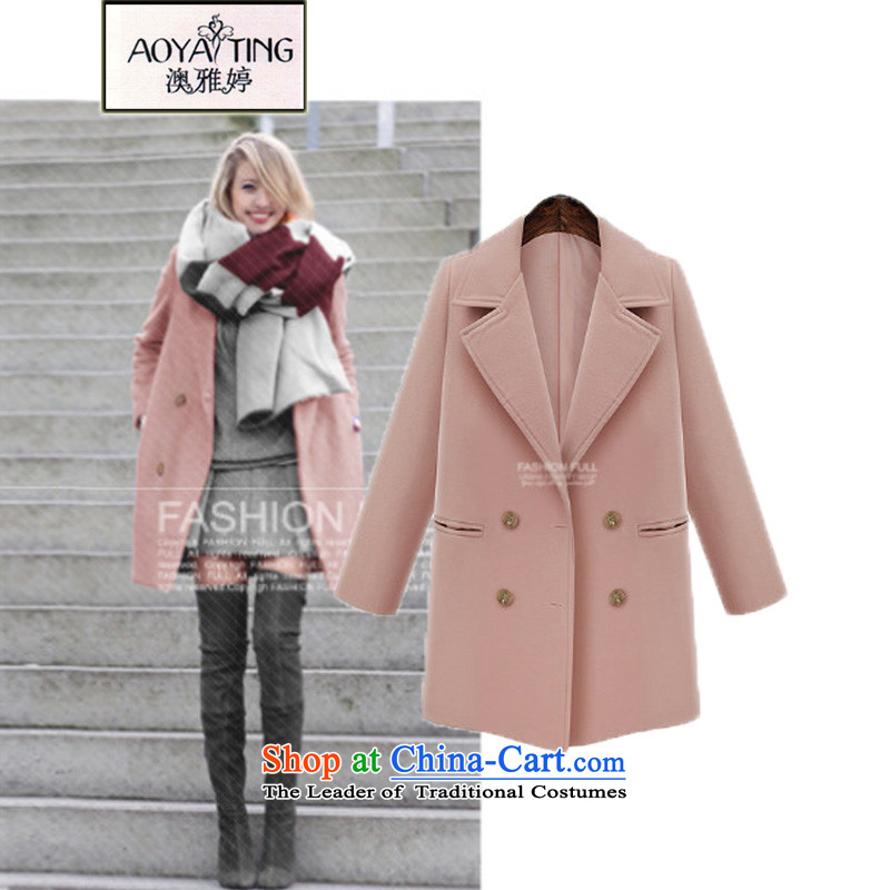 O Ya-ting fashion to xl women 2015 autumn and winter thick mm new graphics thin hair? butted long temperament a wool coat female 655 pink�L�5-200 recommends that you Jin