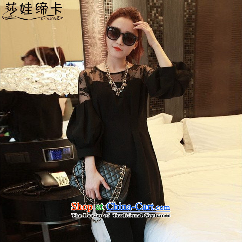 Elisabeth wa concluded card thick, Hin thin dresses 2015 new president to increase women's code 200 catties thick girls' Graphics thin, thick black autumn sister燲L 130 to 145 catties can penetrate
