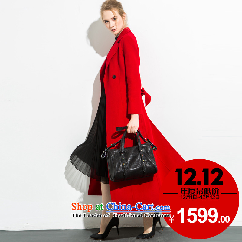 Non-city 2015 autumn and winter new women's cashmere overcoat pure color long petticoats Foutune of gross? wind jacket around 922.747 L115-130 red
