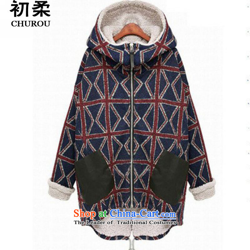 The beginning of the Winter 2015 Korean Sophie female ãþòâ thick MM video thin warm coat in large grid long robe 200 catties can penetrate the picture color XXL