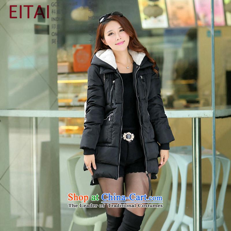 燣arge EITAI female winter clothing to intensify the loose in the thick of black�L Downcoat