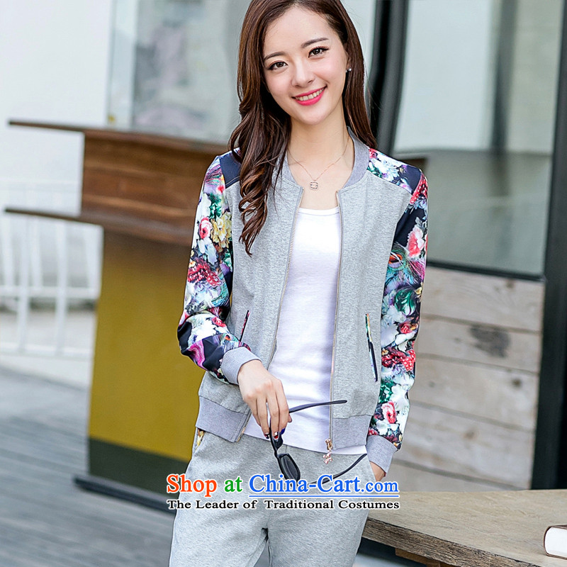 The Doi to increase women's code 2015 New Cardigan National wind jacket baseball uniform female sports two kits�0-135 recommended catty XL_ Gray_