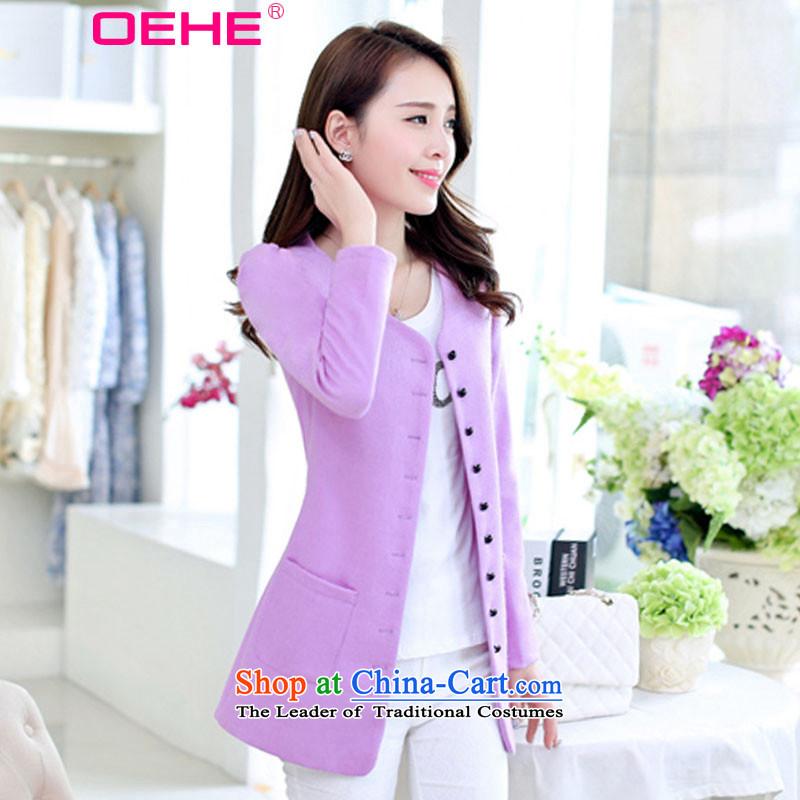 Install the latest Autumn 2015 OEHE, Korean long jacket, Sau San stylish girl video thin V-Neck long-sleeved single row clip hair purple lines? coats Heung-燣