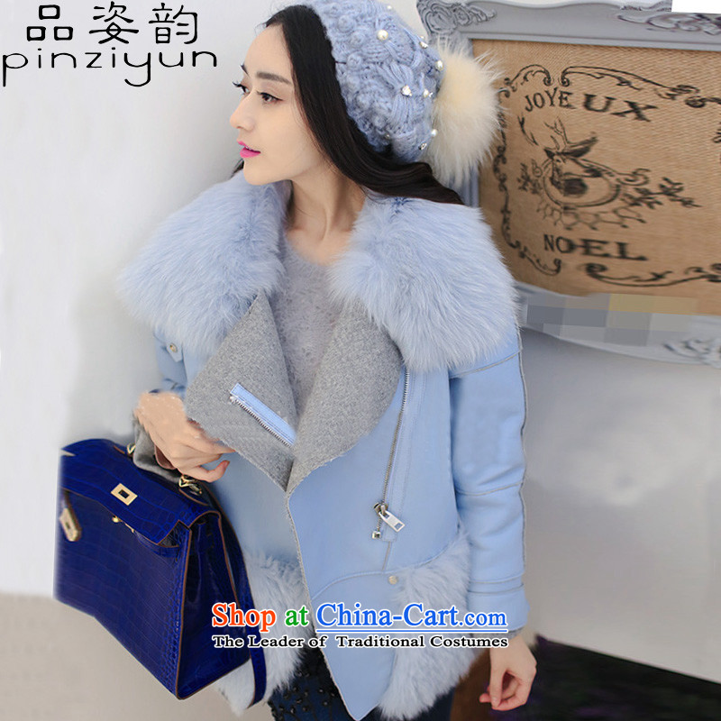 Gigi Lai following 2015 No. autumn and winter new Korean version thin emulation fox gross collar short of fur coat thickened emulation gross female picture color jacket?燤