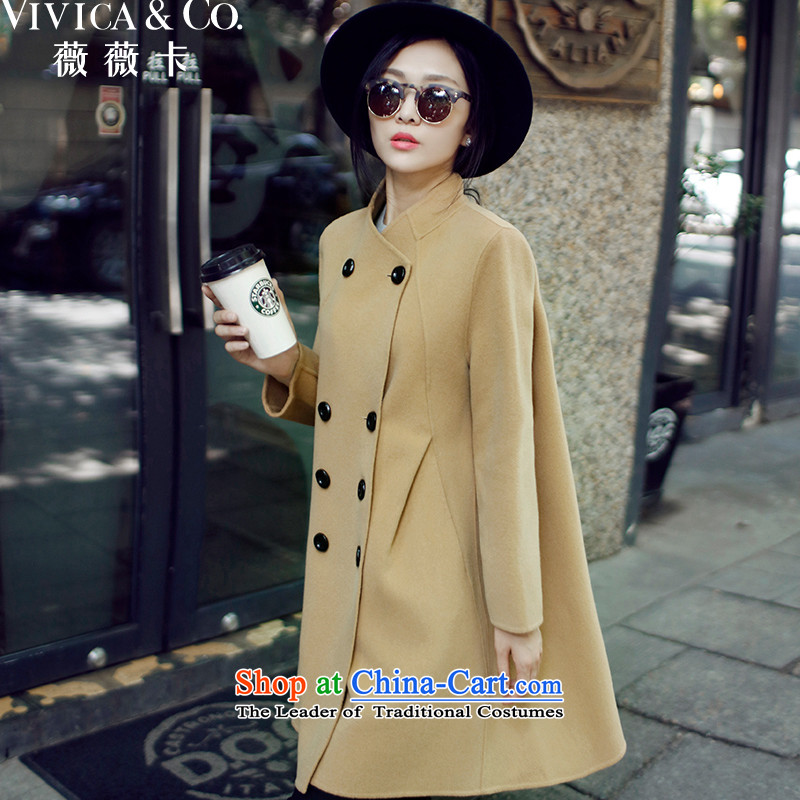 Weiwei Card 2015 autumn and winter new double-cashmere overcoat 9 Cuff Ms. long large light and color coat 0006 S