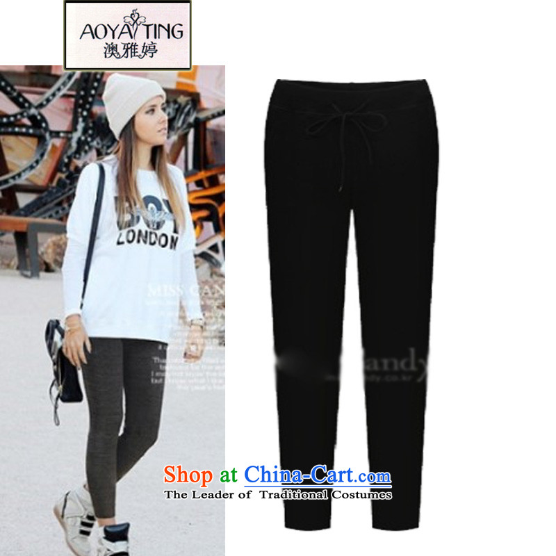 O Ya-ting to increase women's code 2015 autumn and winter long thick mm thin, forming the new graphics elastic waist trousers casual pants children 621 Black�L�5-200 recommends that you Jin