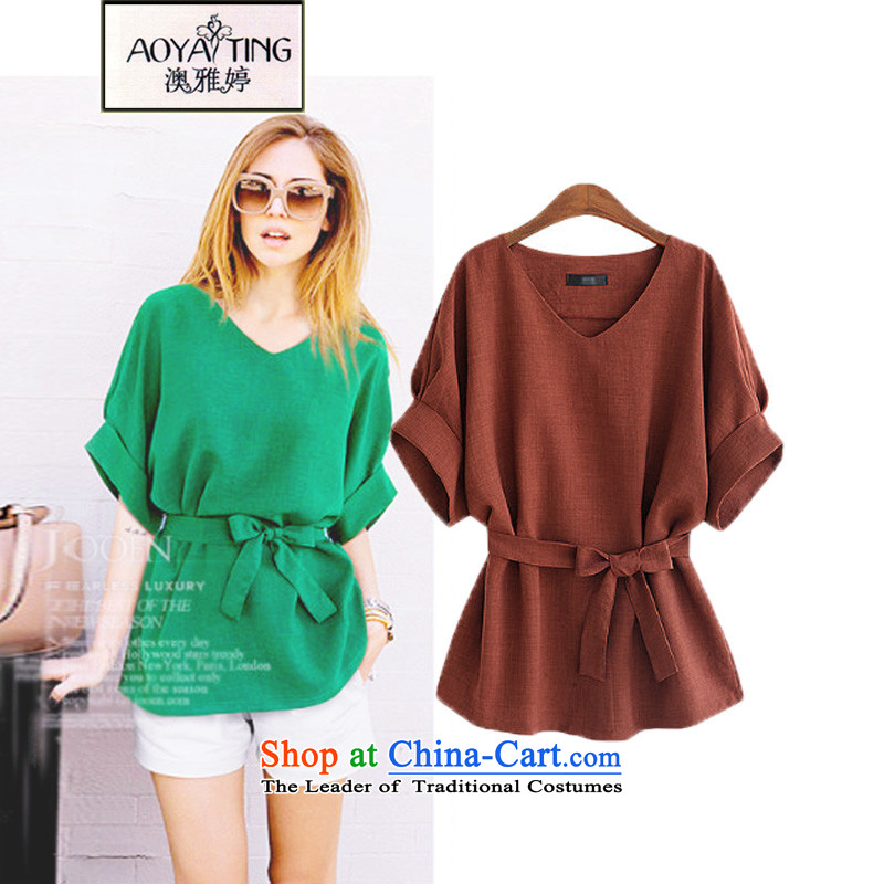 O Ya-ting to increase female dress code, forming the waist shirt 2015 autumn and winter new thick mm video thin king short-sleeved T-shirt female clothes 625 wine red2XL125-145 recommends that you Jin