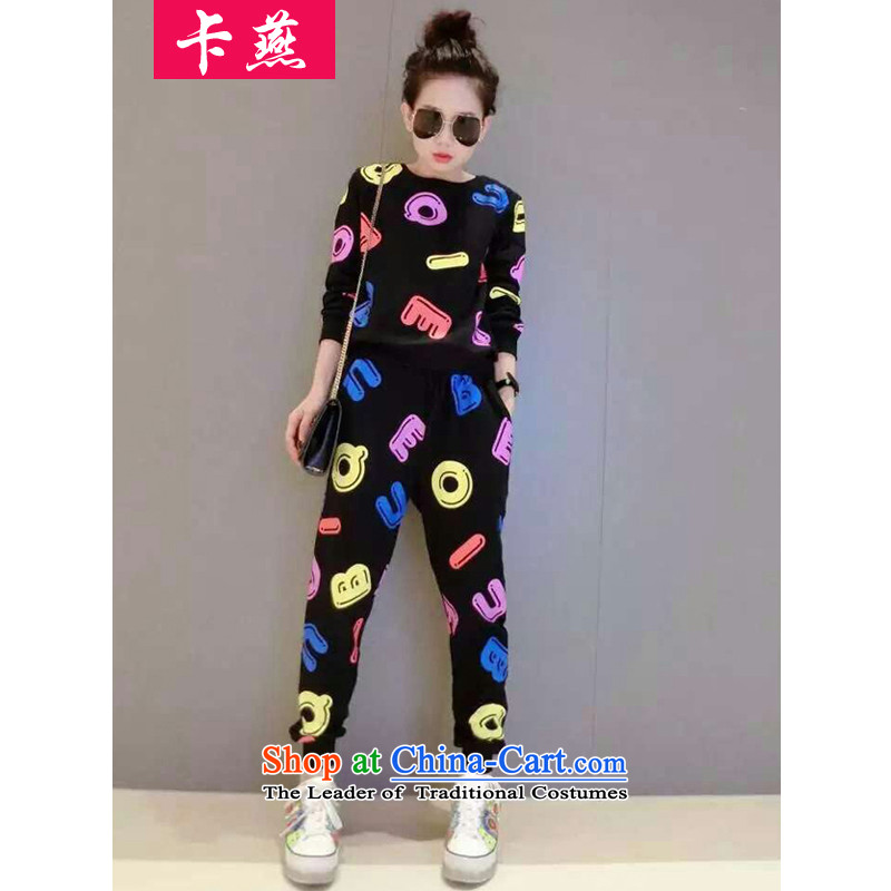 Card Yin autumn and winter new to xl Women Korean round-neck collar kit and sweater relaxd fall thick MM sportswear video thin leisure wears black 5XL 5992