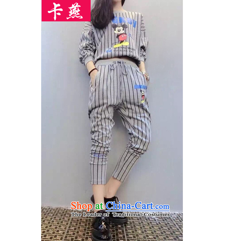 Card Yin leisure wears xl thick MM sports suits of autumn and winter female Korean long-sleeved Pullover loose video thin cartoon stamp sweater two kits 5989 Light Gray XL