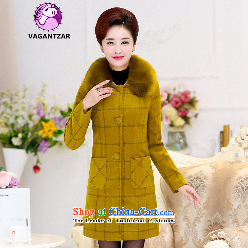 聽Cashmere overcoat female 2015 VAGANTZAR winter clothing new wool a wool coat female Gross Gross for girls jacket? long yellow and green聽M