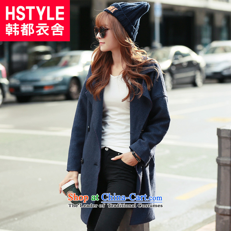 Korea has the Korean version of the Dag Hammarskj鰈d yi 2015 winter clothing new products with stylish blue youth lapel solid color with a straight jacket JT4739 gross? Blue restaurant燣
