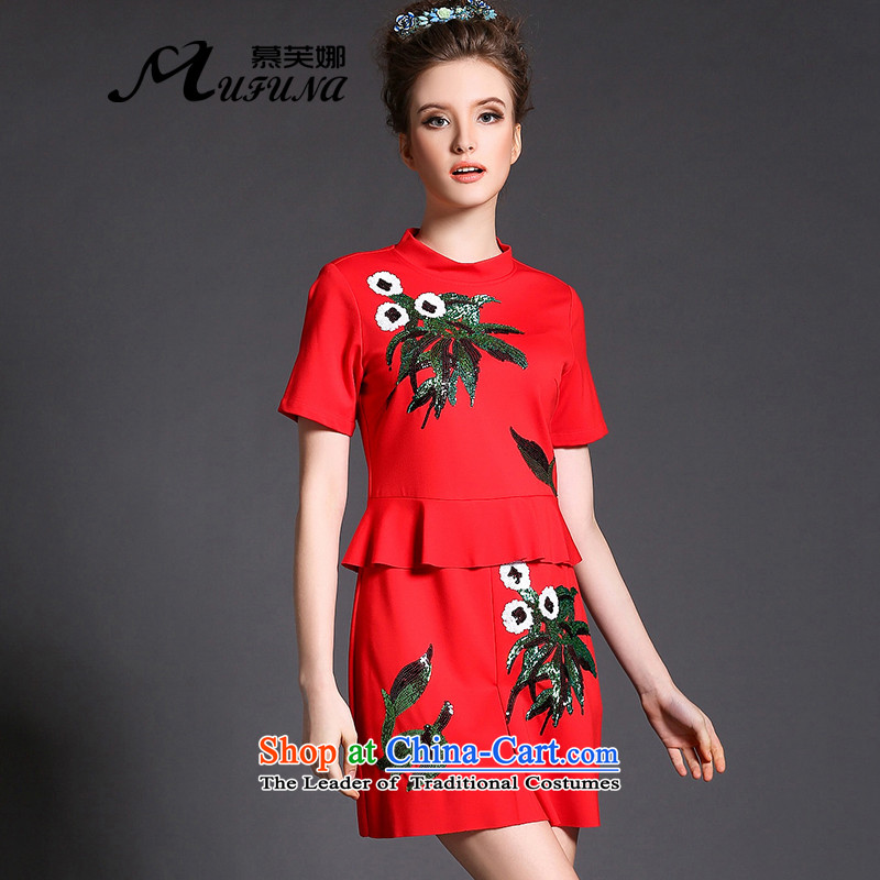 The 2015 autumn improving access installed new western mm200 thick catty to xl female heavy industry stereo on flower garden video dresses?G387 thin?red?4XL