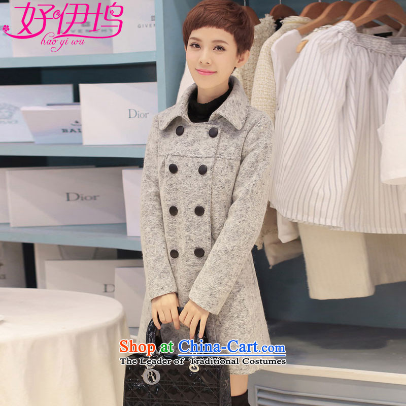 Good El docking聽2015 autumn and winter new gross female Korean jacket?   wool a wool coat girl in long 607 light gray聽M